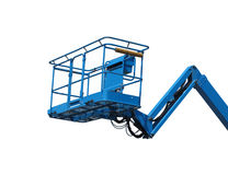 Worker lift basket on arm isolated. Royalty Free Stock Images