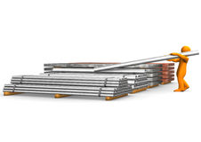 Worker lifting steel girders. 3d illustration of figure or person lifting heavy steel girders off wooden pallets, white studio background Stock Image