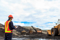 Worker in lignite mine Stock Image