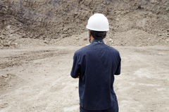Worker in lignite mine at north of THAILAND Royalty Free Stock Photo