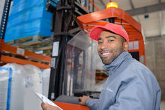 Worker in loading dock. Worker in the loading dock Stock Photos