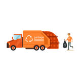 Worker loading rubbish bag into garbage collector truck, waste recycling. Worker loading rubbish bag into garbage collector truck, waste recycling and Royalty Free Stock Photos