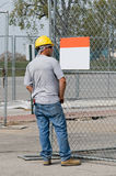 Worker Looking at Blank Sign Stock Images