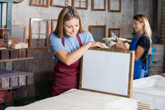 Worker Looking At Dried Paper On Mold In Factory Royalty Free Stock Photos