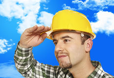 Worker looking forward Royalty Free Stock Images