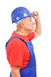Worker looking lateral view Stock Photo