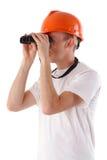 Worker Looking Through Binoculars Royalty Free Stock Photo