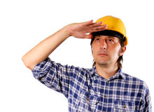 Worker looking up Royalty Free Stock Image