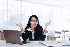 Worker looks confused to find idea stock photography
