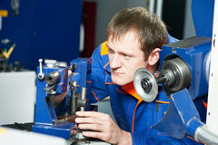 Worker at machine tool operating Stock Images
