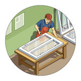 Worker make window Stock Image