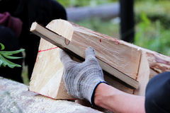 The worker makes a marking on the log before the building of the blockhouse and uses wooden dowel as a ruler markup Stock Photography