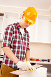 Worker makes marks Royalty Free Stock Photos