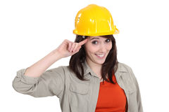 Worker making a crazy gesture. A female construction worker gesturing like crazy Royalty Free Stock Images