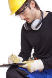 Worker making notice Royalty Free Stock Photos