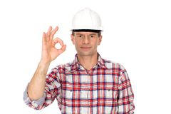 Worker making OK sign Stock Photography