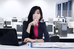 Worker making silent sign Stock Photography