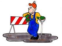 Worker man. Posing vector illustration