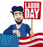 Worker Man and American Flag Celebrating Labor Day, Vector Illustration Stock Photo