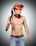 Worker man with ax Stock Photo