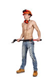 Worker man with ax Royalty Free Stock Photography