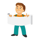 Worker man with banner in cartoon flat style isolated on white.  Royalty Free Stock Photo