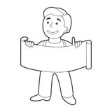 Worker man with banner in cartoon style. Outline Stock Photos