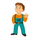 Worker man in cartoon flat style isolated on white.  Stock Images