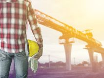 Worker man in construction site royalty free stock photo
