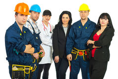 Worker man and different careers team Royalty Free Stock Photo