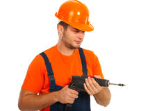 Worker man with a drill Royalty Free Stock Image
