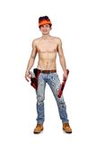 Worker man with drill Stock Photos