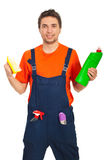 Worker man hold cleaning products Stock Images