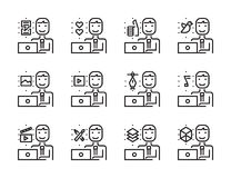 Worker man with laptop outline icon set. Creative work and social media. Stock Photography
