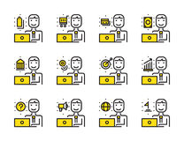 Worker man with laptop outline icon set. Online Marketing, shopp Stock Photo