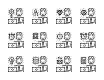Worker man with laptop outline icon set. Royalty Free Stock Photos