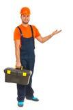 Worker man making presentation Royalty Free Stock Photo