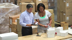 Worker And Manager Checking Goods Before Dispatch Royalty Free Stock Photos