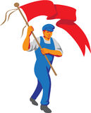Worker Marching Flag Bearer WPA Royalty Free Stock Photography