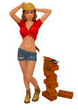 Worker Mason Girl. Worker  Girl, pin-up llustration Royalty Free Stock Image