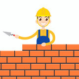 Worker or masonry or stonemason. Vector illustration Royalty Free Stock Photography