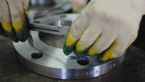 Worker Measures The Diameter with The Flange Caliper. Gas Industry stock video footage