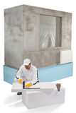 Worker measuring an insulation panel Stock Photography