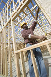 Worker Measuring Window Frame Royalty Free Stock Photo