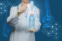 Worker of medicine examines the human spine. On blue background stock image
