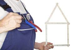 Worker with meter measurement Stock Photo
