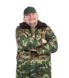Worker military camouflage winter jacket. Royalty Free Stock Photography
