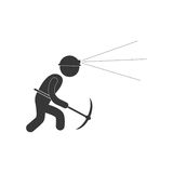 Worker mining pick axe helmet light figure pictogram Royalty Free Stock Images