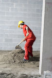 Worker Mixes Dirt - Vertical Stock Images