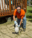 Worker Mixing Weed Killer For A Spray Job Royalty Free Stock Image